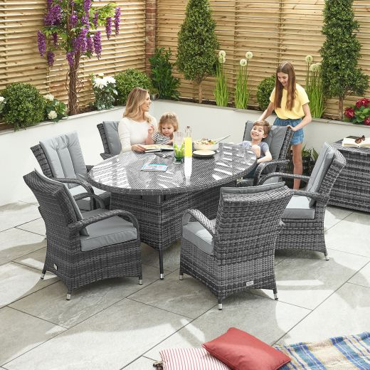 Olivia 6 Seat Dining Set - 1.8m x 1.2m Oval Table - Grey