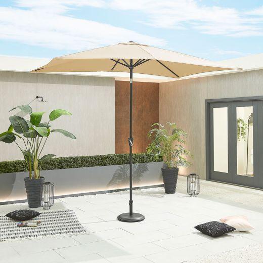 Antigua 3m x 2m Rectangular Aluminium Parasol - Crank & Tilt - Beige