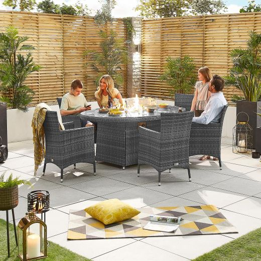 Amelia 6 Seat Dining Set - 1.8m x 1.2m Oval Firepit Table - Grey