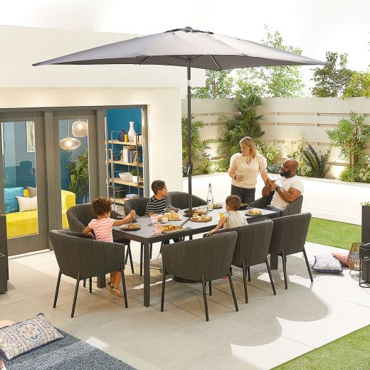 Edge Outdoor Fabric 8 Seat Rectangular Dining Set - Dark Grey
