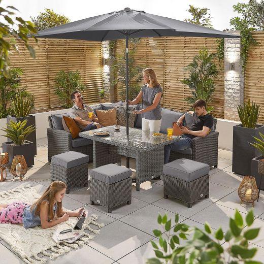 Ciara Left Hand Casual Dining Corner Sofa Set with Parasol Hole - Slate Grey