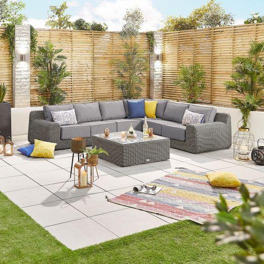 Luxor 1F Rattan Corner Sofa Set - Slate Grey