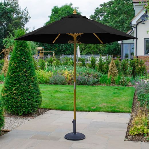 Dominica 2.5m Round Wooden Parasol - Pulley Operated - Black