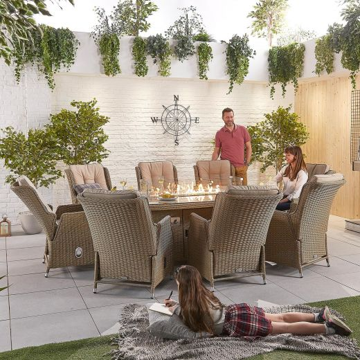 Carolina 8 Seat Dining Set - 2.3m x 1.2m Oval Firepit Table - Willow
