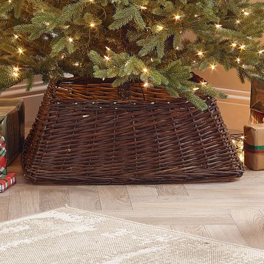 70cm Square Willow Christmas Tree Skirt - Brown