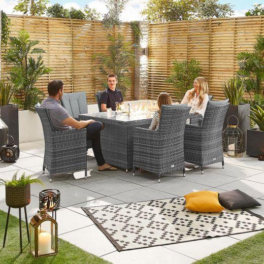 Sienna 6 Seat Rattan Dining Set - 1.5m x 1m Rectangular Firepit Table - Grey
