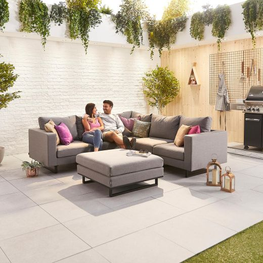 Eden Outdoor Fabric Corner Sofa Set with Footstool - Light Grey