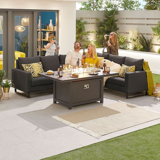 Eclipse Outdoor Fabric Casual Dining Set with Firepit Table - Dark Grey