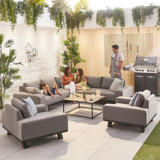 Tranquility Outdoor Fabric Corner Sofa Set with 2 Armchairs - Light Grey