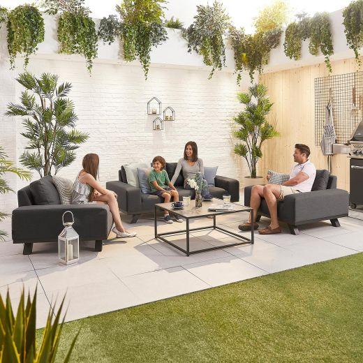 Tranquility Outdoor Fabric 2 Seat Sofa Set - Dark Grey