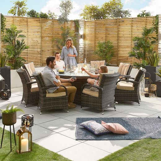Olivia 8 Seat Dining Set - 1.8m Round Firepit Table - Brown