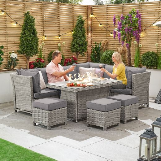 Ciara Right Hand Reclining Casual Dining Corner Sofa Set with Firepit Table - White Wash