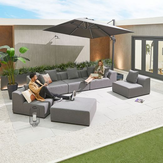 Buddha Outdoor Fabric Sofa Set - Light Grey