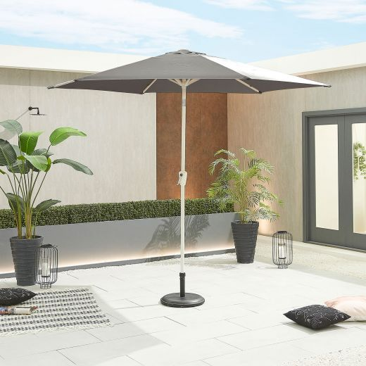 Antigua 3m Round White Frame Aluminium Parasol - Crank & Tilt - Grey Canopy