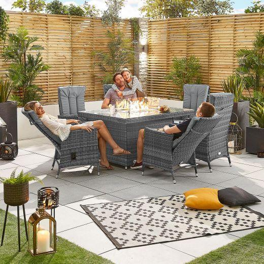 Ruxley 6 Seat Rattan Dining Set - 1.5m x 1m Rectangular Firepit Table - Grey