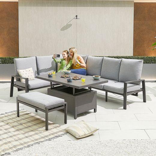Enna Left Hand Aluminium Reclining Casual Dining Corner Sofa Set with Rising Table & Bench - Grey Frame