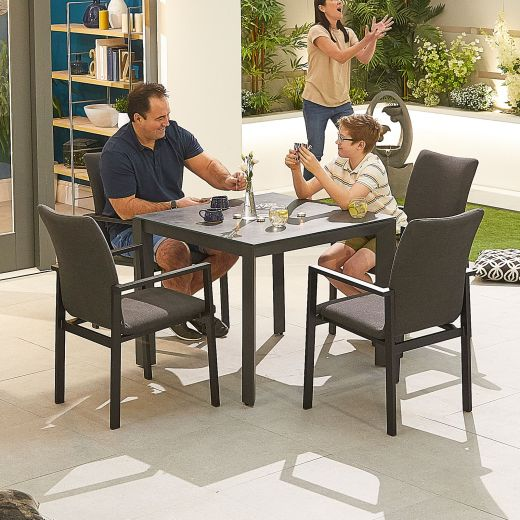 Hugo Outdoor Fabric 4 Seat Square Dining Set - Dark Grey