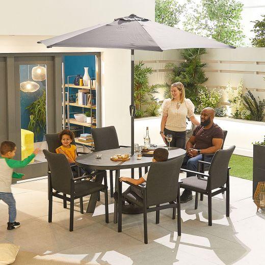Hugo Outdoor Fabric 6 Seat Oval Dining Set - Dark Grey