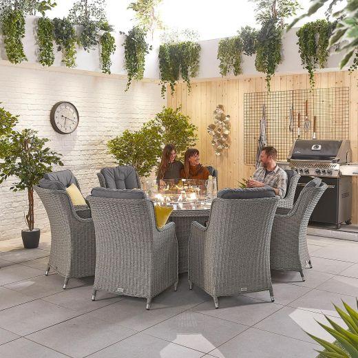 Thalia 8 Seat Dining Set - 1.8m Round Firepit Table - White Wash