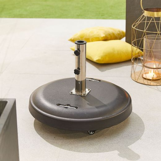 50kg Concrete Parasol Base with Wheels - Black