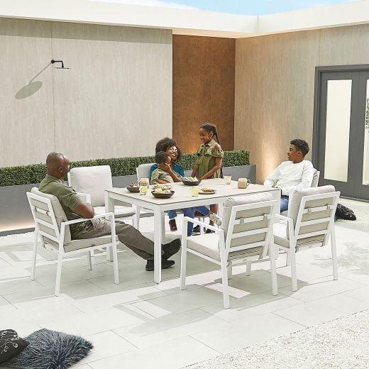 Enna 6 Seat Dining Set - 1.5m x 1m Rectangular Table - White Frame