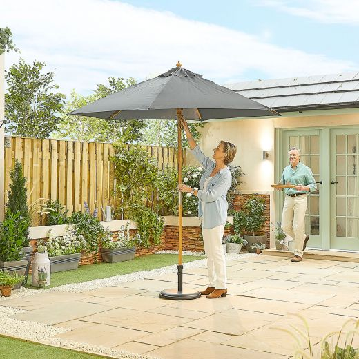 Dominica 2.5m Round Wooden Parasol - Pulley Operated - Grey