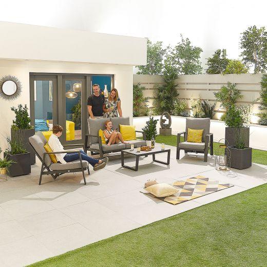 Enna Aluminium Reclining 2 Seat Sofa Set - Grey Frame