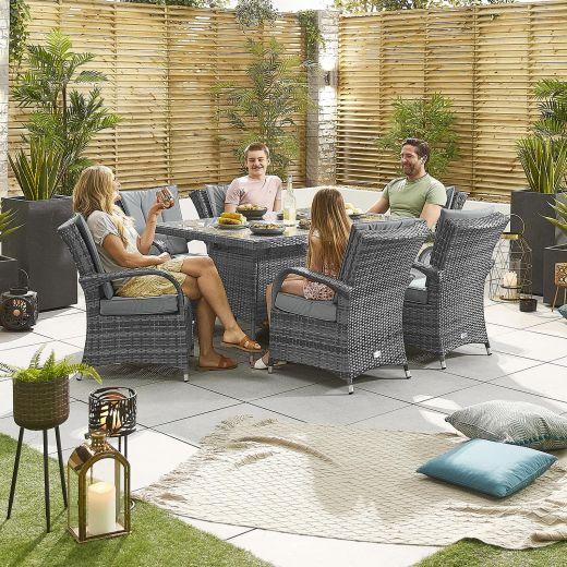 Olivia 6 Seat Dining Set - 1.5m x 1m Rectangular Table - Grey