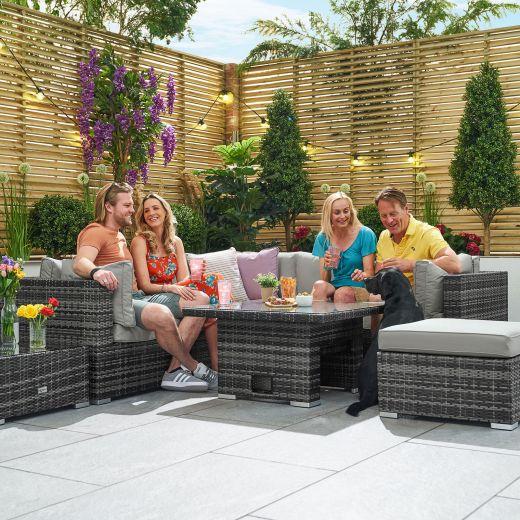 Chelsea 1B Corner Sofa Set with Rising Table - Grey