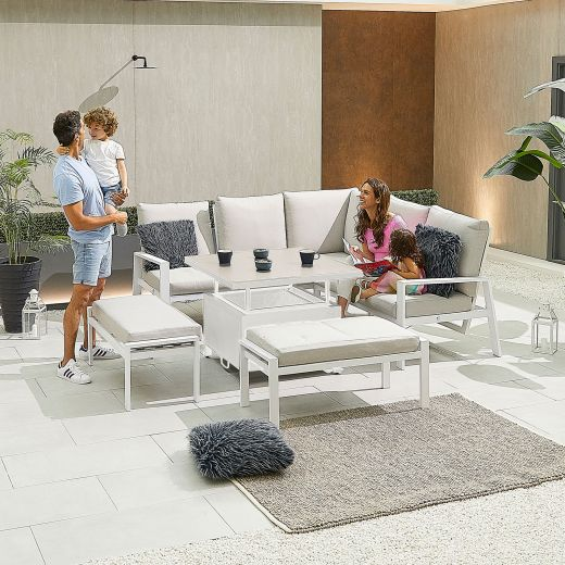 Compact Enna Aluminium Reclining Casual Dining Corner Sofa Set with Rising Table & Benches - White Frame