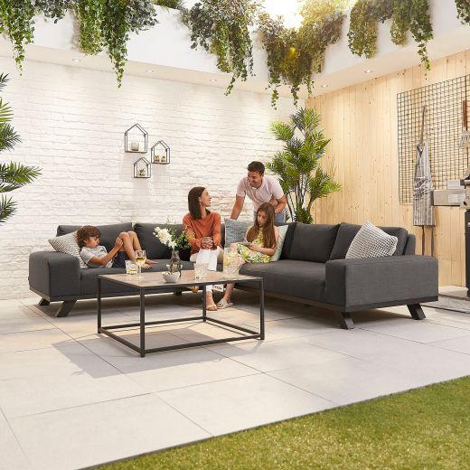 Tranquility Outdoor Fabric Corner Sofa Set - Dark Grey