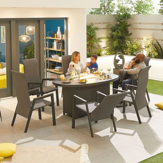 Venice 6 Seat Dining Set - 1.6m x 1m Oval Firepit Table - Grey Frame