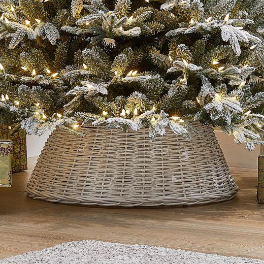 70cm Willow Christmas Tree Skirt Ring - White