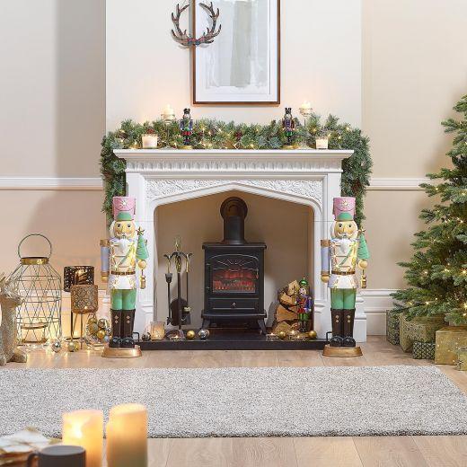 Pair of 3ft Pastel Blue Noel Christmas Nutcrackers with Tree