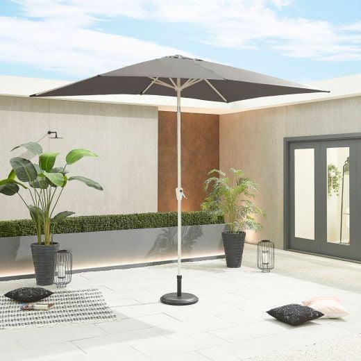 Antigua 3m x 2m Rectangular White Frame Aluminium Parasol - Crank & Tilt - Grey Canopy