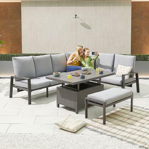 Enna Right Hand Aluminium Reclining Casual Dining Corner Sofa Set with Rising Table & Bench - Grey Frame