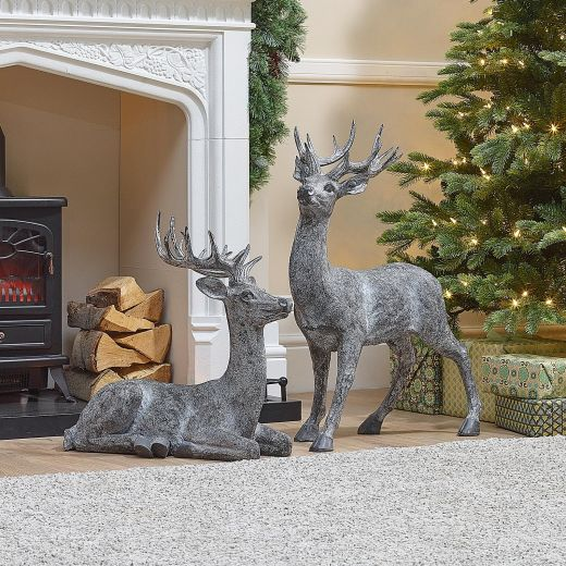 The Small Grey Christmas Reindeer Duo