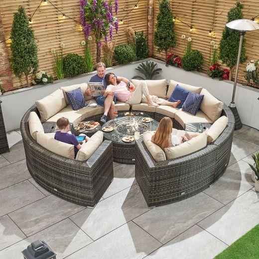 Kensington 3C Rattan Corner Sofa Set - Brown