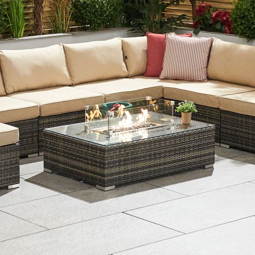 Chelsea Rectangular Coffee Table with Firepit - Brown