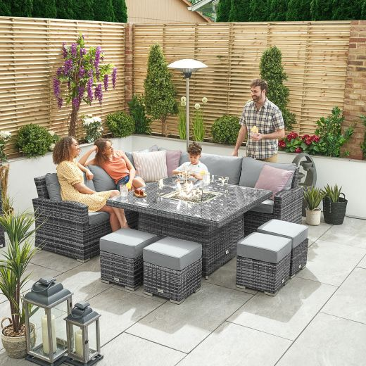 Deluxe Cambridge Casual Dining Corner Sofa Set with Firepit Table - Grey
