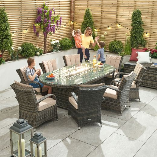 Olivia 8 Seat Dining Set - 2m x 1.2m Oval Firepit Table - Brown