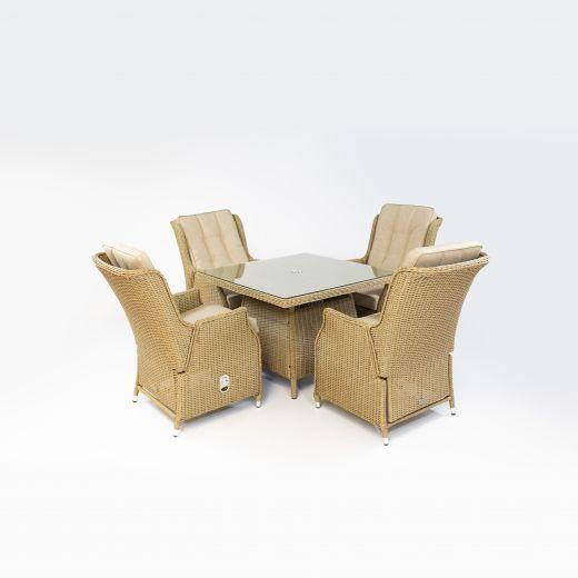 Carolina 4 Seat Dining Set - 1m Square Table - Willow