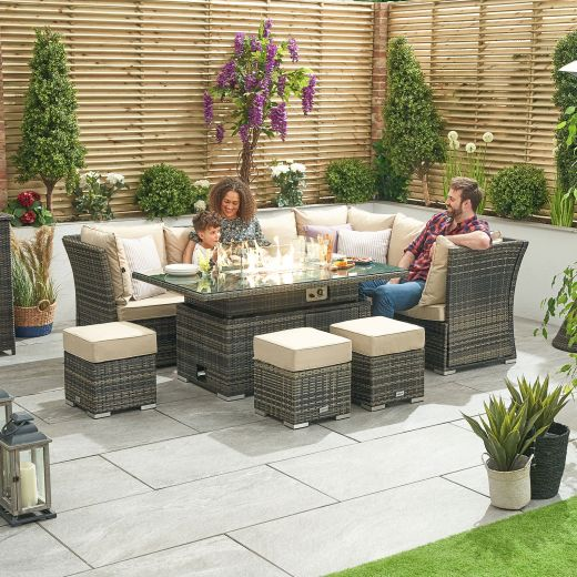 Cambridge Right Hand Reclining Casual Dining Corner Sofa Set with Rising Firepit Table - Brown