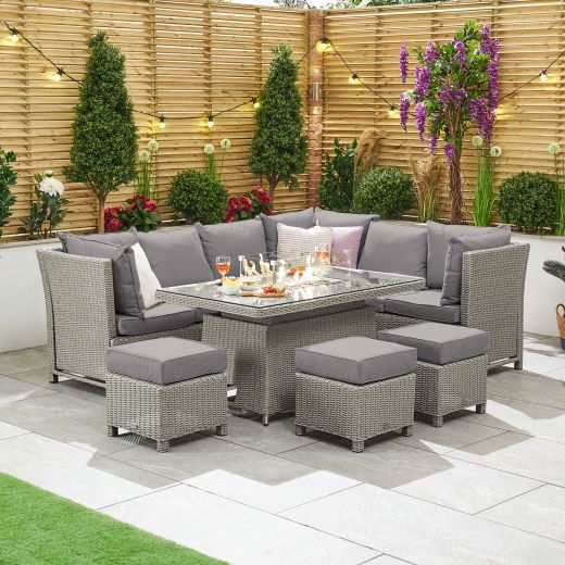 Ciara Right Hand Reclining Casual Dining Corner Sofa Set with Rising Firepit Table - White Wash