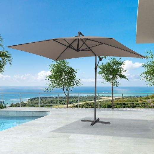 Barbados 3m x 2m Rectangular Cantilever Parasol - Crank Operated - Taupe