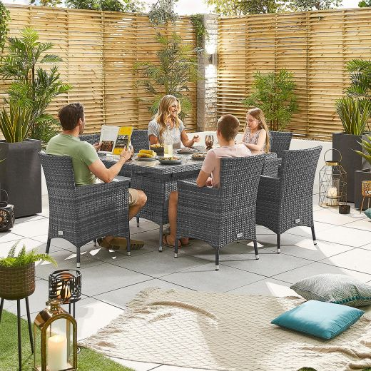 Amelia 6 Seat Dining Set - 1.5m x 1m Rectangular Table - Grey