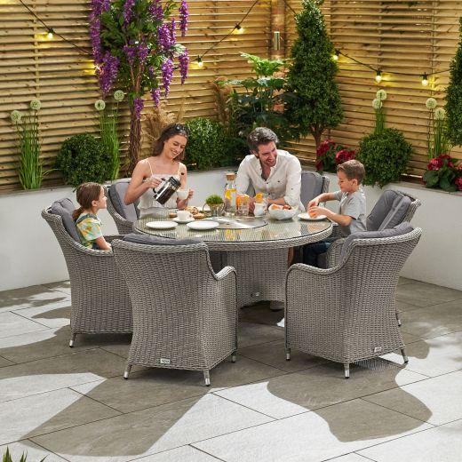 Camilla 6 Seat Dining Set - 1.35m Round Ice Bucket Table - White Wash