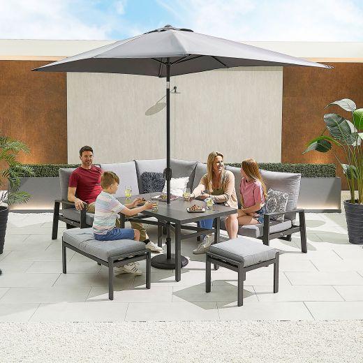 Enna Left Hand Aluminium Reclining Casual Dining Corner Sofa Set with Parasol Hole & Bench & Footstool - Grey Frame