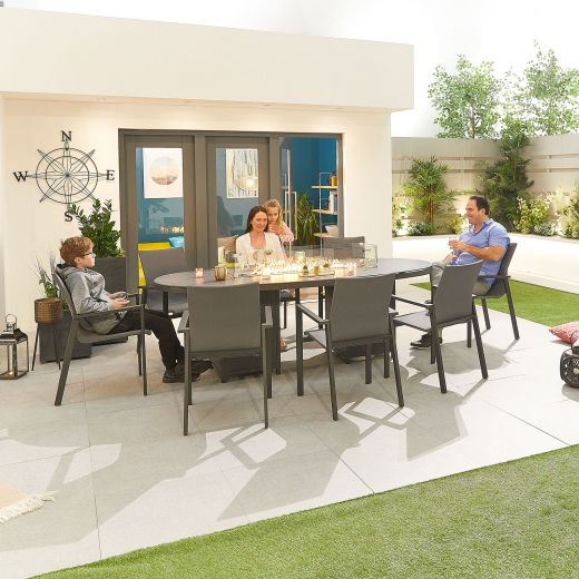 Roma 8 Seat Dining Set - 2.3m x 1.1m Oval Firepit Table - Grey Frame