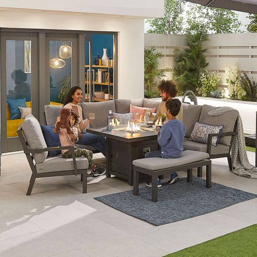 Compact Vogue Aluminium Casual Dining Corner Sofa Set with Firepit Table & Armchair & Bench - Grey Frame